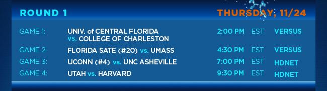 ROUND 1 – THURSDAY, 11/24 GAME 1: UNIV. of CENTRAL FLORIDA vs. COLLEGE OF CHARLESTON 2PM EST VERSUS GAME 2: FLORIDA STATE (#20) vs. UMASS 4:30PM EST VERSUS GAME 3: UCONN (#4) vs. UNC ASHEVILLE 7:00PM EST HDNET GAME 4: UTAH vs. HARVARD 9:30PM EST HDNET